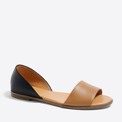 Morgan leather peep-toe flats