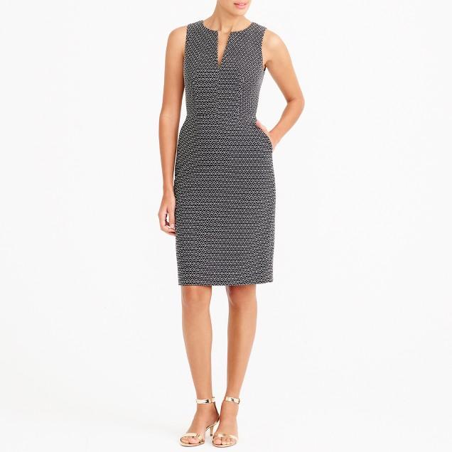 Polka-dot split-neck dress