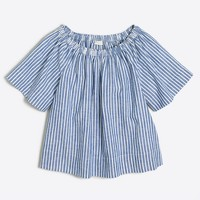 Girls' striped ruched top