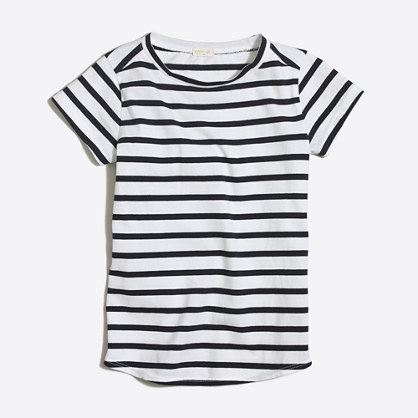 Girls' striped shirttail-hem T-shirt