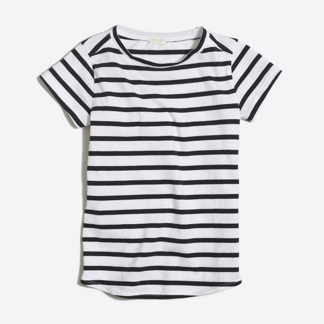 Girls' striped shirttail-hem T-shirt