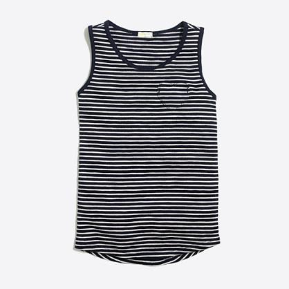 Girls' striped heart pocket tank top
