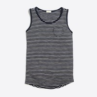 Girls' striped heart pocket tank top