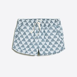 Girls' chambray pull-on short in printed hearts