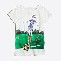 Girls' girl playing soccer keepsake T-shirt