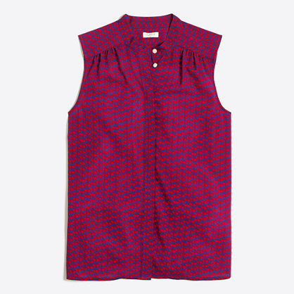 Printed button-front cami top