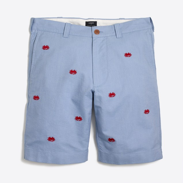 "9"" embroidered oxford Gramercy short"