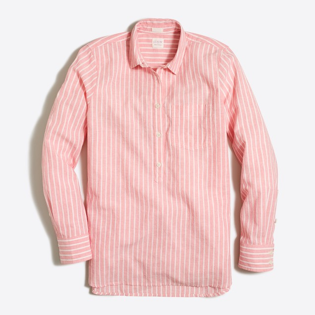 Striped washed popover shirt in cotton-linen