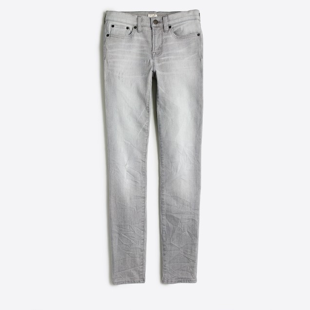 "Distressed dolphin wash skinny jean with 28"" inseam"
