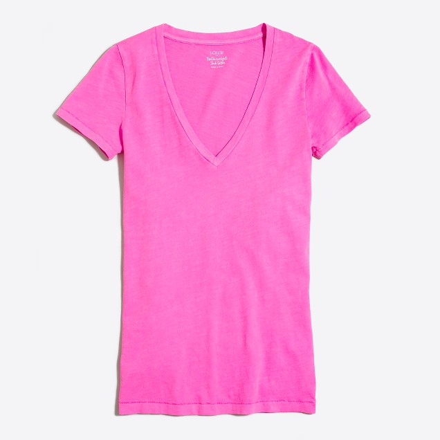 Neon featherweight slub cotton V-neck T-shirt