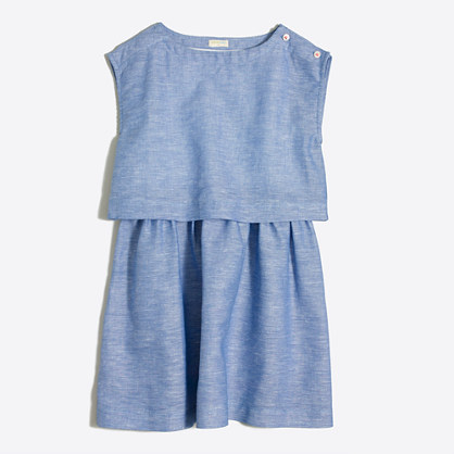Girls' linen-cotton tiered dress