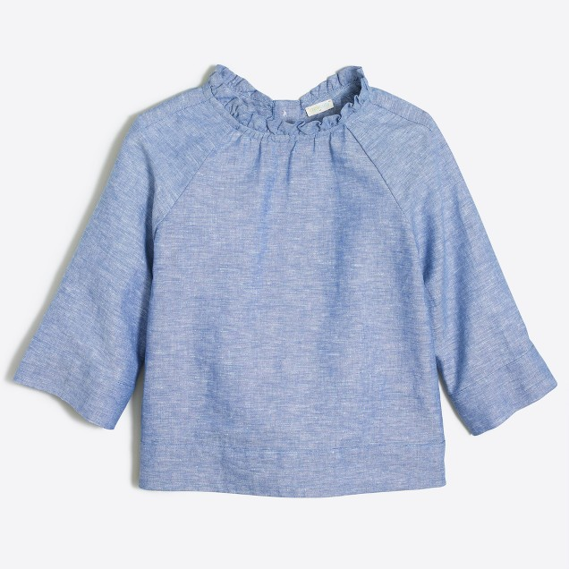 Girls' linen-cotton ruffle-neck top