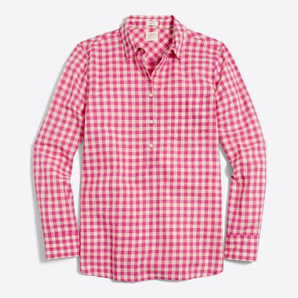 Petite plaid gauze shirt in boy fit