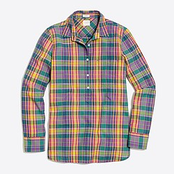Plaid gauze shirt in boy fit