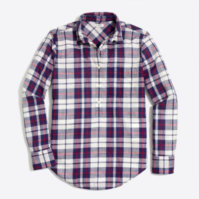 Plaid gauze shirt in boy fit factorywomen shirts & tops c