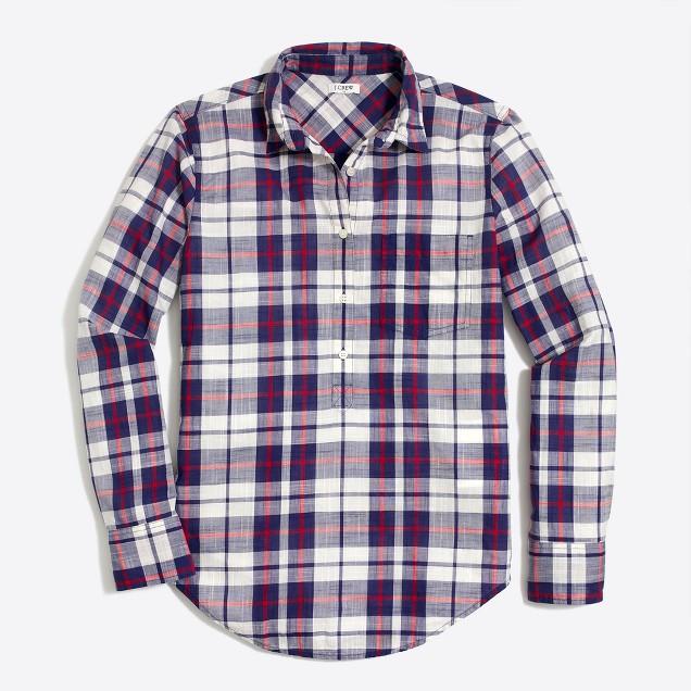Plaid gauze shirt in boy fit