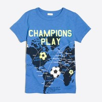 Boys' glow-in-the-dark soccer balls map storybook T-shirt