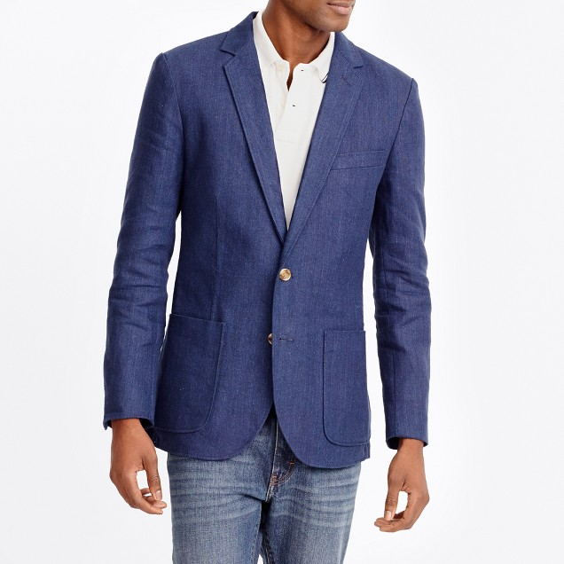 Thompson unconstructed linen-cotton blazer