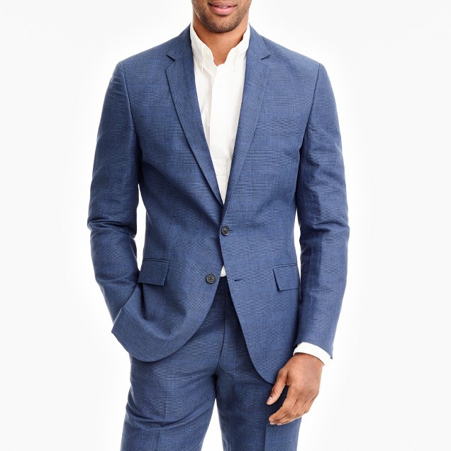 Thompson suit jacket in glen plaid linen-cotton with double vent