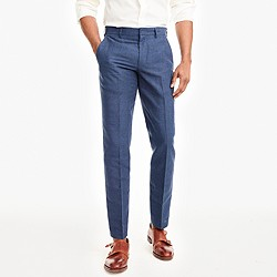Slim Thompson suit pant in glen plaid linen-cotton