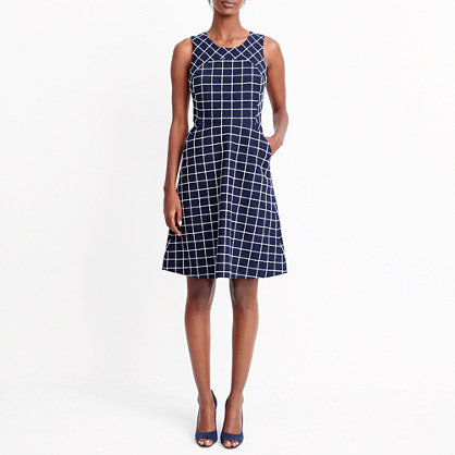 Windowpane tweed dress