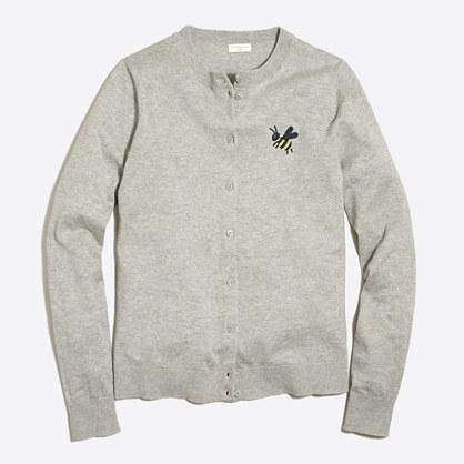 Embroidered bee Caryn cardigan sweater