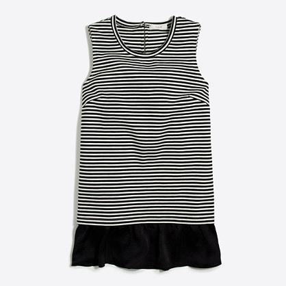 Striped ruffle-hem tank top