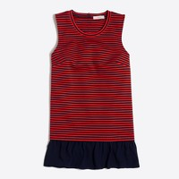 Striped ruffle-hem tank top