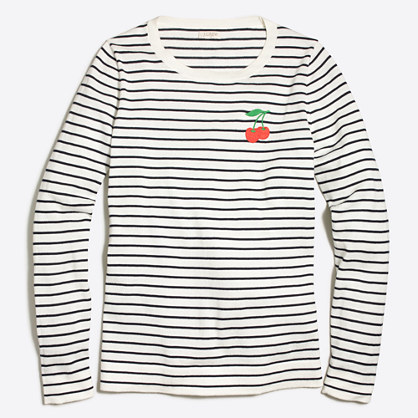 Embroidered cherry striped Teddie sweater