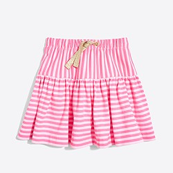 Girls' double-striped pull-on skirt