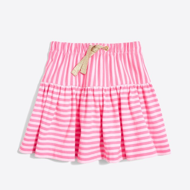 Girls' double-striped pull-on skirt