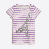 Girls' striped sequin Paris keepsake T-shirt