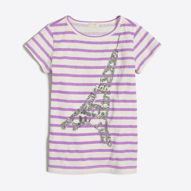 Girls' striped sequin Paris keepsake T-shirt