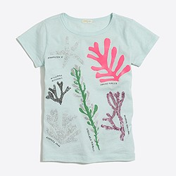 Girls' sparkly coral keepsake T-shirt