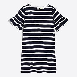 Girls' striped flutter-sleeve dress