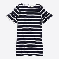 Girls' striped flutter-sleeve dress