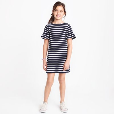 Girls' striped flutter-sleeve dress factorygirls dresses c