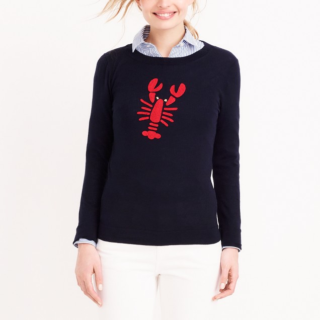 Embroidered lobster Teddie sweater