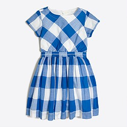 Girls' dress in oversized gingham