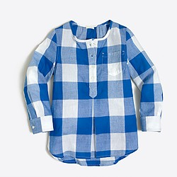 Girls' tunic in oversized gingham