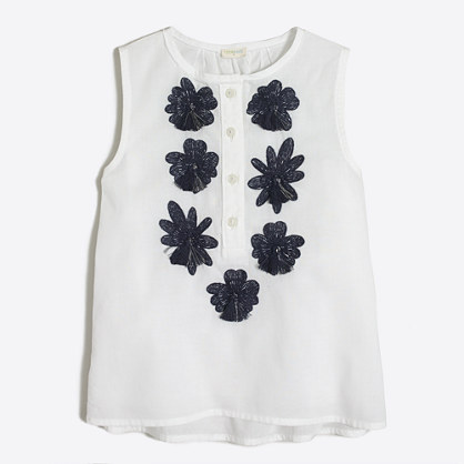 Girls' embroidered flower shell