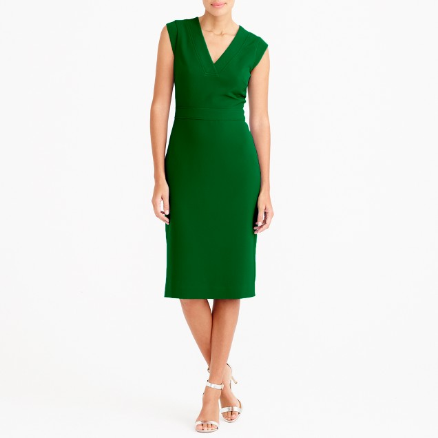 Drapey V-neck crepe dress