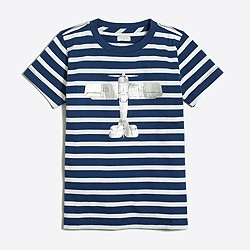 Boys' striped plane storybook T-shirt