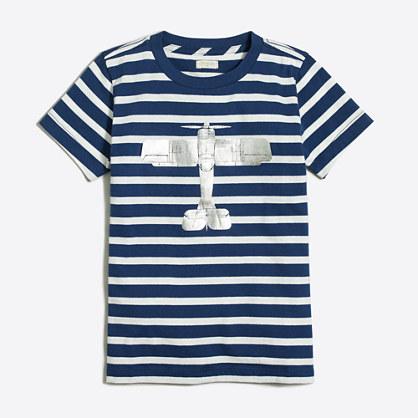 Boys' striped plane storybook T-shirt