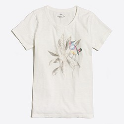 Metallic bird leaf collector T-shirt
