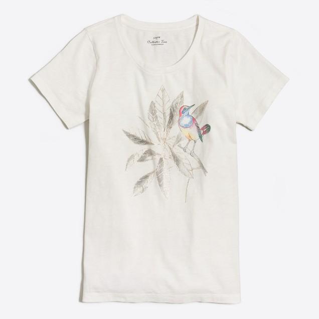 Metallic bird leaf collector T-shirt