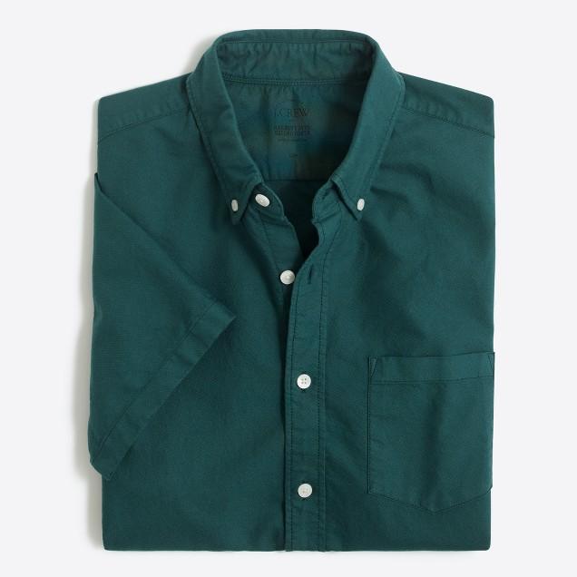 Slim short-sleeve sunwashed garment-dyed oxford shirt