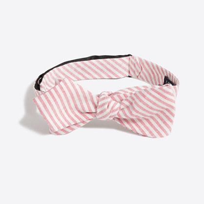 Striped cotton-linen bow tie