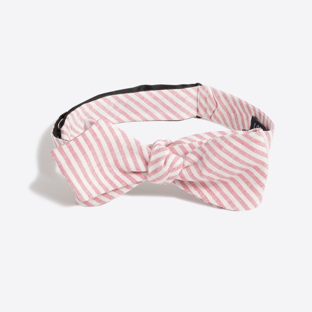 Striped cotton-linen bow tie