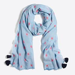 Embroidered tassel scarf